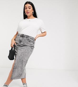 Simply Be denim midi skirt in grey acid wash