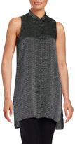 Eileen Fisher Sleeveless Dot Printed Hi-Lo Top