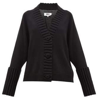 MM6 MAISON MARGIELA Padded-trim V-neck Cardigan - Womens - Black
