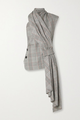 Monse Draped Prince Of Wales Checked Wool-blend Top - Gray