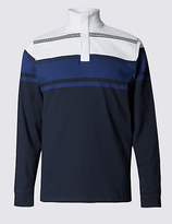 Blue Harbour Tailored Fit Pure Cotton Striped Rugby Top