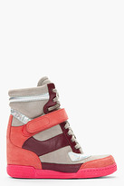 Marc by Marc Jacobs Pink Nubuck Holographic Colorblocked Sneaker Wedges