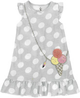 Petit Lem Polka-Dot Ice Cream Nightgown, Light Gray, Size 5-6XT