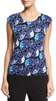 Escada Heather Flower-Print Tank, Multi Colors