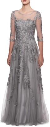 La Femme Lace & Tulle Illusion Bodice Gown