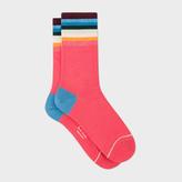 Paul Smith Women's Raspberry Pink 'Artist Stripe' Socks