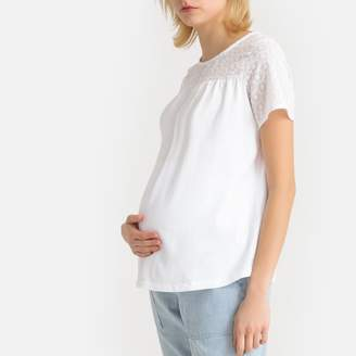 La Redoute Collections Boat-Neck Maternity T-Shirt in Cotton Mix