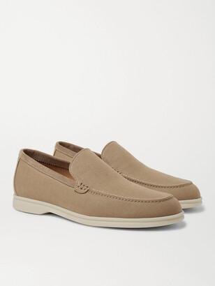 Loro Piana Summer Walk Suede-Trimmed Linen Loafers