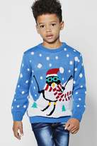 boohoo Boys Skiing Penguin Christmas Jumper