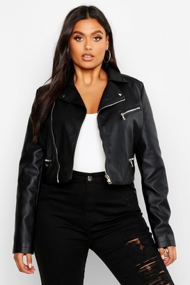 boohoo Plus Leather Look Stud Collar Cropped Biker Jacket
