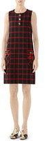 Gucci Patch Embellished Check Jacquard Dress