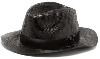 Valentino V-logo Straw Fedora Hat - Black