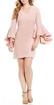 Eliza J V Neck Bell Sleeve Shift Dress