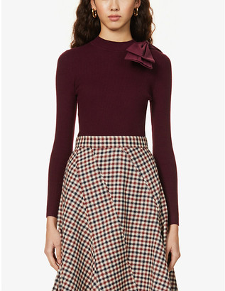 Ted Baker Bow-trimmed stretch-knit jumper