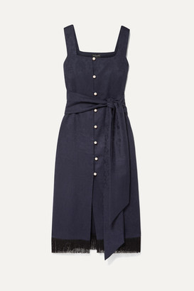 Mother of Pearl Net Sustain Jane Fringed Organic Cotton And Wool-blend Jacquard Midi Dress - Navy