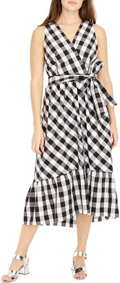 J.Crew J. Crew Faux Wrap Gingham Cotton Poplin Dress