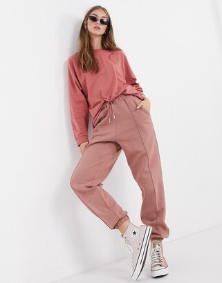 ASOS DESIGN mix & match co-ord oversized jogger with pintuck in rose