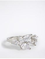 M&S Collection Platinum Plated Diamanté Flower Ring