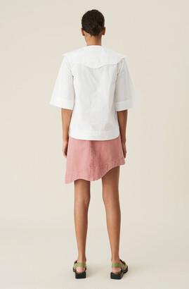 Ganni Pink Denim High-waisted Asymmetrical Mini Skirt