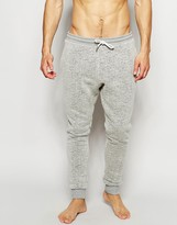 Asos Loungewear Skinny Joggers In Neppy Fabric With Borg Lining - Grey