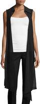 A.Z.I. Sheer-Front Long Vest, Black