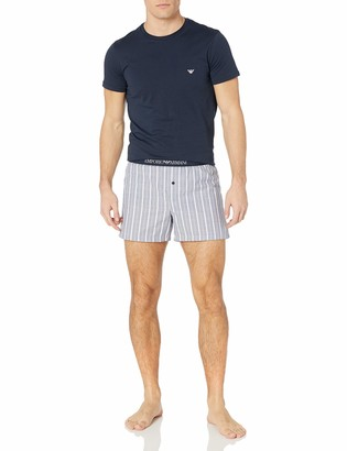 Emporio Armani Men's Yarn Dyed Woven Short Pajamas