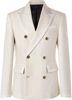 Amiri Double-Breasted Silk Twill-Trimmed Wool-Blend Boucle Blazer