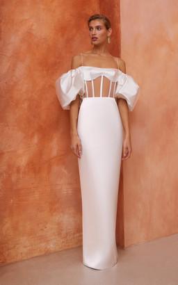 Rasario Bridal Puffed-Sleeve Satin Maxi Dress