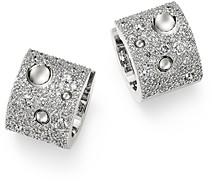 Roberto Coin 18K White Gold Pois Moi Luna Pave Diamond Hoop Earrings