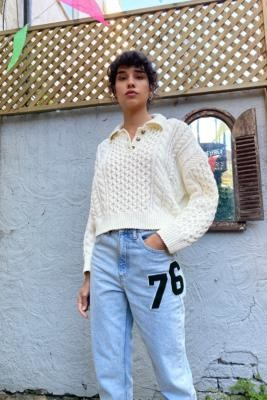 Urban Outfitters Cable Knit Henley Jumper - White XS at