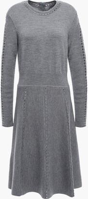 Lela Rose Open Knit-trimmed Melange Wool-blend Dress