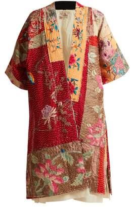 By Walid Akiko-embroidered Silk Kimono-style Jacket - Womens - Beige Multi