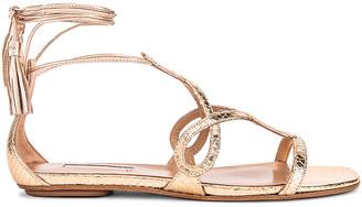 Aquazzura Gitana Metal Snake Printed Sandal Flat in Gold | FWRD