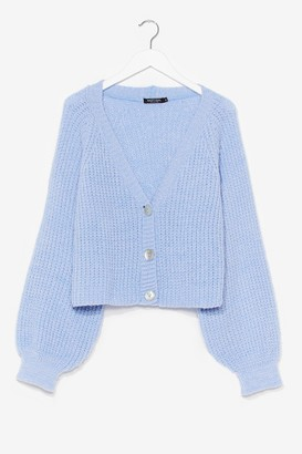 Nasty Gal Womens Keep Knit Chilled V-Neck Cropped Cardigan - Blue - S