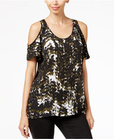 KUT from the Kloth Printed Cold-Shoulder Top