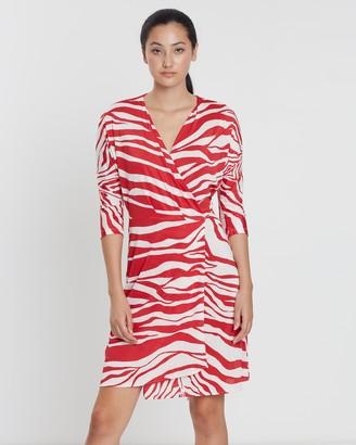 Mng Cross Print Wrap Dress