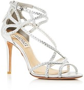 Badgley Mischka Crystal Braided Strappy High Heel Sandals