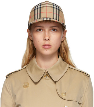 Burberry Beige Heavy Cotton Check Trucker Hat