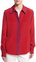 Diane von Furstenberg Long-Sleeve Button-Front Collared Silk Blouse