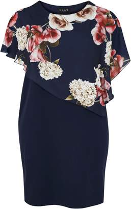 Evans **Grace Navy Blue Chiffon Overlay Midi Dress