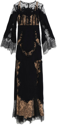 ZUHAIR MURAD Appliqued Lace-paneled Silk-blend Cady Gown