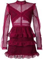 Self-Portrait ruffled sheer dress - women - Polyester/Spandex/Elastane - 14