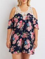 Charlotte Russe Plus Size Crochet-Trim Cold Shoulder Dress