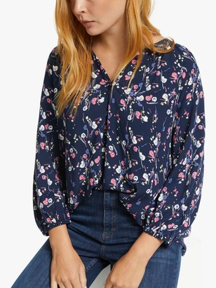 Collection WEEKEND by John Lewis Ellie Lavinia Floral Smock Top, Blue