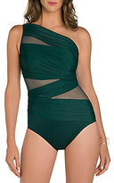Miraclesuit Solid Network Jena One Shoulder Mesh Inset One Piece Swimsuit
