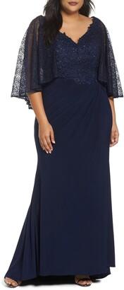 Mac Duggal Lace Capelet Column Gown