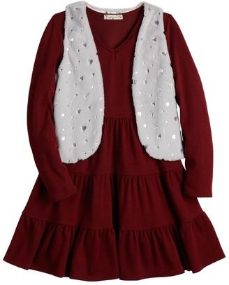 Knitworks Girls 7-16 & Plus Size Knit Works Dress & Faux-Fur Vest Set