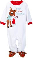 Candlesticks Rudolph First Christmas Velour Footie (Baby Boys)