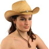 SK Hat shop Bling Chin Strap Vented 100% Raffia Straw Shapeable Cowboy Hat 58cm L/XL Natural