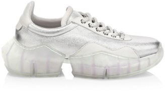 Jimmy Choo Diamond Metallic Leather Chunky Sneakers